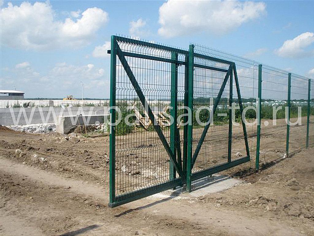 Ворота откатные с заполнением 3D. Ограждение складского комплекса.